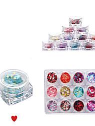 cheap -12 Color Full Nail Tips Nail Ornaments Symphony Small Sequins love