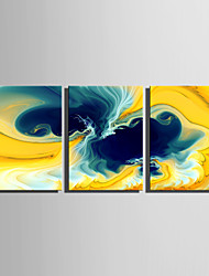 E-HOME Stretched Canvas Art Abstract The Dazzling Yellow Flowers Decoration Painting Set Of 3