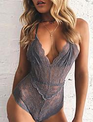 les vêtements de nuit fantaisie pour femmes& loungewear teddy nightwear, sexy solide-mince dentelle rose / gris