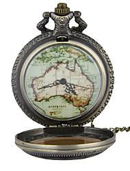 Relógio de Bolso Colar com Relógio Quartzo Lega Banda Vintage Padrão Mapa do Mundo Bronze Bronze