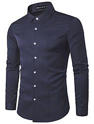 cheap -Men's Daily Work Casual Spring Fall Shirt,Solid Classic Collar Long Sleeves Cotton Medium