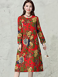 HOT!Women's Daily Vintage Simple Loose DressFloral Round Neck Midi Long Sleeve Cotton Linen Blue Red Spring Fall Mid Rise