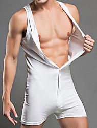 Homme Sexy Couleur Pleine Maillot de corps-Coton
