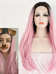 cheap -Synthetic Lace Front Wigs Handmade for Women Long Wavy Dark Roots Pink Natural Wave Heat Resistant Hair Fashion Hairstyle Cosplay Wig