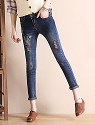 Sign 2017 Korean version of stretch jeans female trousers tight pencil pants skinny pants noticeable hole