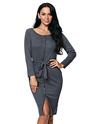 Women's Long Sleeve Button Down Midi Dress with Sash Belt