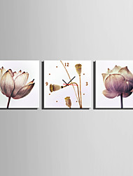 Modern/Zeitgenössisch Blumen/Botanik Wanduhr,Quadratisch Leinwand40 x 40cm(16inchx16inch)x3pcs/ 50 x 50cm(20inchx20inch)x3pcs/ 60 x