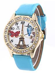 Femme Montre Tendance Montre Bracelet Quartz / Polyuréthane Bande Tour Eiffel Noir Blanc Bleu Rouge Rose Bleu marineNoir Bleu ciel Rouge