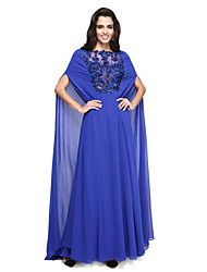 cheap -A-Line Bateau Neck Sweep / Brush Train Georgette Formal Evening Dress with Beading Appliques by TS Couture®