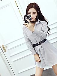 Nett Sign Spring Korean fashion OL temperament gauze shirt / striped shirt waist dress two-piece