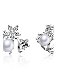 925 Imitation Pearl Drop Earrings Earrings Set Dangle Earrings Jewelry Wedding Party Daily Casual Platinum Plated Plated 1 pair Silver