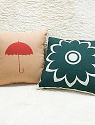 cheap -1 pcs Cotton/Linen Pillow Case, Floral Graphic Prints Casual Outdoor Accent/Decorative Country Modern/Contemporary