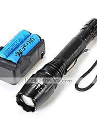 preiswerte -U'King LED Taschenlampen LED 2000 lm 5 Modus Cree XM-L T6 inklusive Batterien und Ladegerät Zoomable- einstellbarer Fokus Camping /