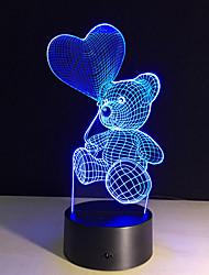 cheap -The Cartoon Cute Heart Bear Shape LED Lamp 3D Baby Night Light