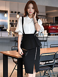 DABUWAWA Women's Pencil Bodycon Solid Split Peplum Overalls SkirtsGoing out Casual/Daily Work Sexy Street chic High Rise Knee-length Zipper