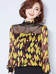 cheap -Women's Daily Wear Chic & Modern T-Shirt,Prints Stand Long Sleeve Polyester Thin