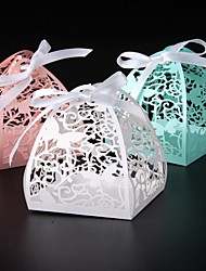 cheap -Round Square Creative Pearl Paper Favor Holder with Ribbons Printing Favor Boxes - 50