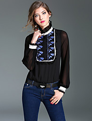 cheap -Women's Formal Street chic Spring Blouse,Color Block Patchwork Embroidered Stand Long Sleeves Silk Thin