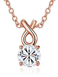 Femme Pendentif de collier Colliers chaînes Zircon cubique Forme de Cercle Forme Géométrique Zircon Cuivre Plaqué argent Plaqué Or Rose
