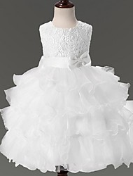 cheap -Ball Gown Knee Length Flower Girl Dress - Organza Sleeveless Jewel Neck with Bow(s) Lace by YDN