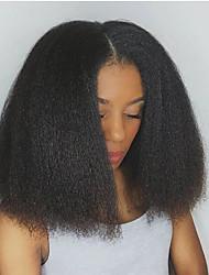 Donna Parrucche di capelli umani con retina Cappelli veri Lace frontale 130% Densità Lisci Kinky liscia Parrucca Nero jet Nero Marrone