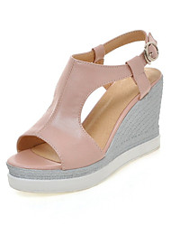 Sandals Spring Summer Fall Club Shoes Novelty Leatherette Customized Materials Wedding Dress Casual Wedge Heel BuckleWhite Beige Blue