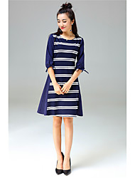 YANG X-M Casual/Daily Simple Cute A Line DressStriped Round Neck Above Knee  Length Sleeve Cotton Polyester Spandex Blue All Seasons Mid Rise