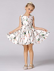 Ball Gown Short / Mini Flower Girl Dress - Organza Sleeveless Jewel Neck with Pattern / Print by YDN