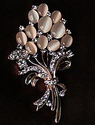 levne -Brože imitace drahokamu Květinový Květiny Štras Opál Slitina Kytky Zlatá Šperky Pro Párty Ležérní
