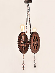 Vintage Wood Gear Pendant Lights Loft Creative Industrial Lamp American Style For Living Room Restaurant Light Fixture