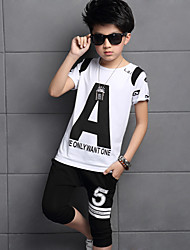 Boy's Going out Casual/Daily Sports Print Patchwork Sets Cotton Summer Short Sleeve Pants 2 Piece Clothing Set Children's Garments