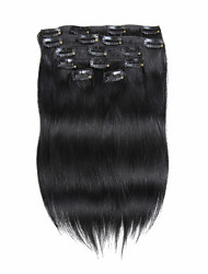 7pcs/set 18Inch Clip In Human Hair Extensions 85g Pure Color Straight Hair