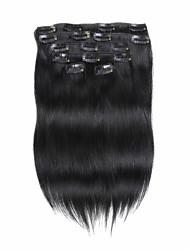 Χαμηλού Κόστους -Κουμπωτό Επεκτάσεις ανθρώπινα μαλλιών Ίσιο Φυσικά μαλλιά Εξτένσιον από Ανθρώπινη Τρίχα Γυναικεία Σκούρο Καστανοκόκκινο