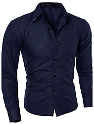 cheap -Men's Casual Plus Size Cotton Slim Shirt - Solid Colored, Print Classic Collar