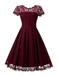 cheap -Women's Daily Beach Holiday Vintage Lace Swing Dress,Jacquard Round Neck Knee-length Short Sleeves Cotton Polyester Summer High Rise