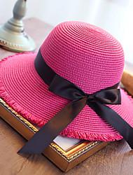 Women's Fashion Sweet Floppy Straw Hat Sun Hat Beach Cap Folding Bowknot Casual Holiday Outdoors Summer