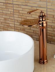Moderne Set de centre Jet pluie Soupape céramique Mitigeur un trou Or rose , Robinet lavabo