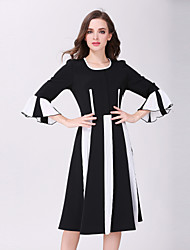 cheap -Women's Going out A Line Dress - Striped / Spring / Summer / Flare Sleeve / Fine Stripe