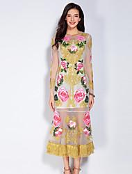 abordables -Gaine Robe Femme Sortie Mignon,Fleur Col Arrondi Midi Manches Longues Jaune Polyester Printemps Eté Taille Normale Non Elastique Moyen