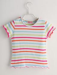 T-shirt Bambino Casual A strisce-Cotone-Estate-Bianco