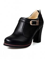 cheap -Women's Shoes Leatherette / PU(Polyurethane) Spring / Summer Comfort / Novelty Heels Walking Shoes Chunky Heel Round Toe Black / Beige