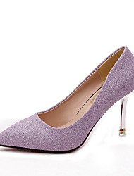 abordables -Mujer Zapatos PU Otoño Tira en T Tacones Tacón Stiletto Dedo Puntiagudo Lentejuela para Oficina y carrera Negro / Plata / Morado