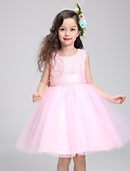 Ball Gown Knee Length Flower Girl Dress - Cotton Sleeveless Jewel Neck with Ribbon by YDN