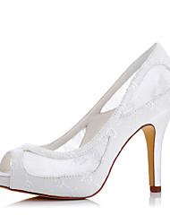 abordables -Mujer Zapatos Seda Primavera / Verano Tacones Tacón Stiletto Punta abierta Marfil / Boda / Fiesta y Noche / Fiesta y Noche