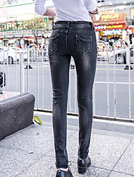 Spring new black jeans female feet pants female tight stretch embroidery feet long pants Korean version