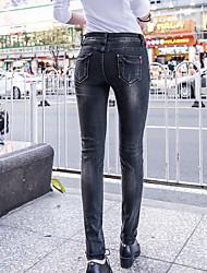 New Spring jeans neri femminili pantaloni piedi femminili stretti piedi ricamo tratto pantaloni lunghi versione coreana
