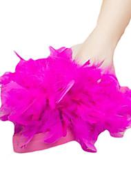 Недорогие -Для женщин Тапочки и Шлепанцы Полиуретан Лето Повседневные Пух На плоской подошве Белый Желтый Пурпурный Розовый Менее 2,5 см