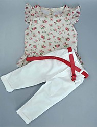 cheap -Daily Sports Going out Polka Dot Clothing Set,Cotton Summer Short Sleeve Floral Dot White