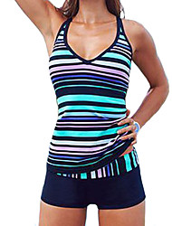 cheap -Women's Striped Color Block Bandeau Tankini Swimwear,Polyester Blue