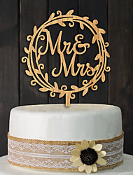 Manufacturers selling wooden bridal MR MRS lei cake inserted Card custom wedding cake